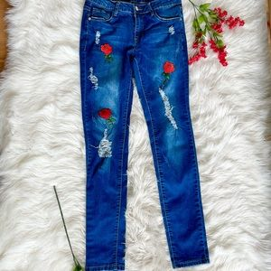 Custom Embroidered Distressed Jeans